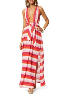 Ramy Brook Roma Striped Plunging Coverup Dress