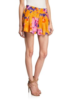 Ramy Brook Sadie Printed Metallic Pleated Shorts