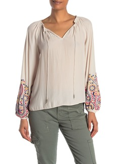 Ramy Brook Shanese Embroidered Long Sleeve Blouse