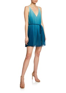 Ramy Brook Sofie V-Neck Sleeveless Pleated Ombre Mini Dress