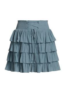 Ramy Brook Stormi Lace-Up Tier Ruffle Mini Skirt