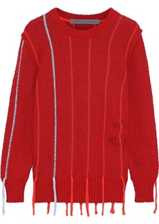 Raquel Allegra Woman Tasseled Distressed Bouclé-knit Cotton Sweater Red