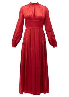 Raquel Diniz Alma pleated silk-satin dress
