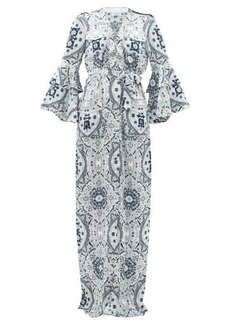 Raquel Diniz Army mosaic-print silk-satin dress