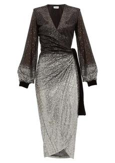 Raquel Diniz Jade dégradé-sequinned wrap dress
