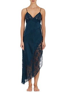 Raven Clothing Raven & Sparrow by Stephanie Seymour Women's Asymmetric Lace-Trimmed Silk Gown