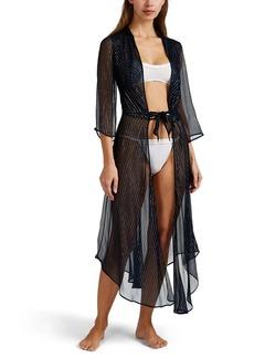 Raven Clothing Raven & Sparrow by Stephanie Seymour Women's Chappy Metallic-Striped Silk Dressing Robe