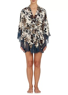 Raven Clothing Raven & Sparrow by Stephanie Seymour Women's Margaret Lace-Trimmed Silk Kimono