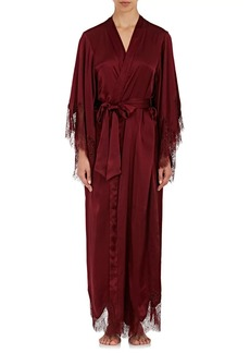 Raven Clothing Raven & Sparrow by Stephanie Seymour Women's Margaret Lace-Trimmed Silk Kimono Robe