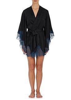 Raven Clothing Raven & Sparrow by Stephanie Seymour Women's Margaret Lace-Trimmed Silk Kimono Robe