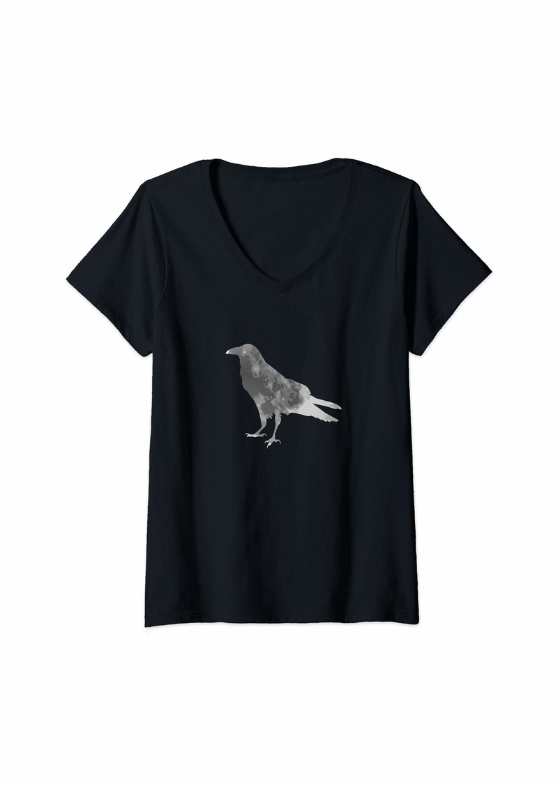Raven Clothing Womens Raven silhouette moon for halloween witches V-Neck T-Shirt