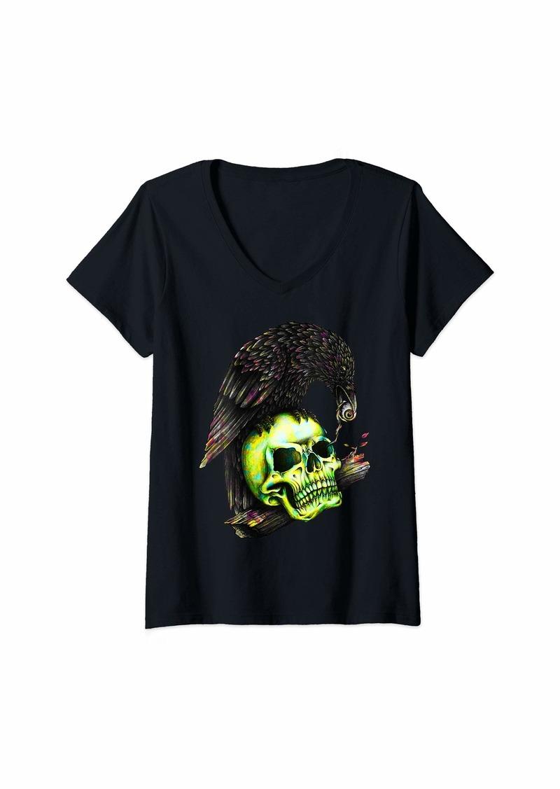 Raven Clothing Womens Wild Animal Raven Brid and eye of Skull  V-Neck T-Shirt