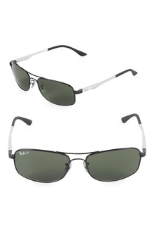 Ray-Ban 60MM Polarized Rectangle Sunglasses