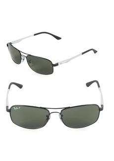 Ray-Ban 60MM Rectangle Aviator Sunglasses