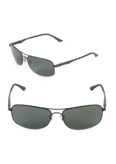 Ray-Ban 63MM Polarized Rectangle Sunglasses