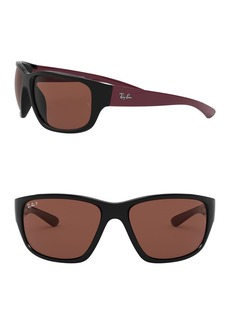 Ray-Ban 63mm Square Polarized Sunglasses