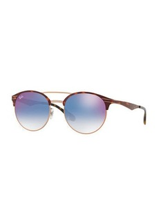 Ray-Ban Club Round Mirrored Metal Double-Bridge Sunglasses