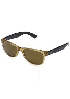Ray-Ban Men's New Wayfarer Polarized Square Sunglasses HONEY 55 mm