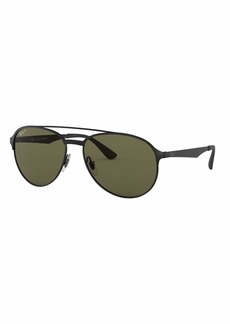 Ray-Ban Men's Round Polarized Metal Aviator Sunglasses