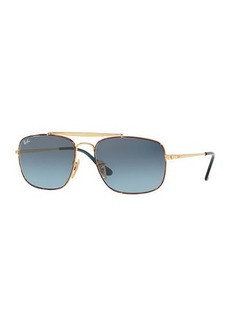 Ray-Ban Men's The Colonel 58mm Square Metal Aviator Sunglasses