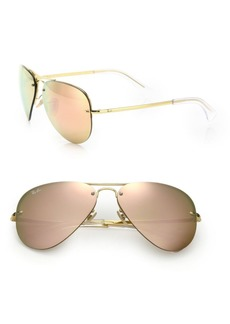 Ray-Ban RB3449 59MM Mirrored Semi-Rimless Aviator Sunglasses