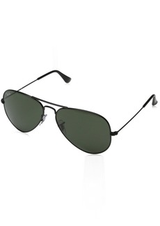 Ray-Ban 0RB3025 Aviator Metal Non-Polarized Sunglasses Black/Grey Green 58mm