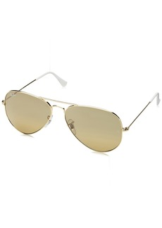 Ray-Ban 3025 Aviator Large Metal Mirrored Non-Polarized Sunglasses Gold/Brown/Silver Mirror (001/3K) 62mm