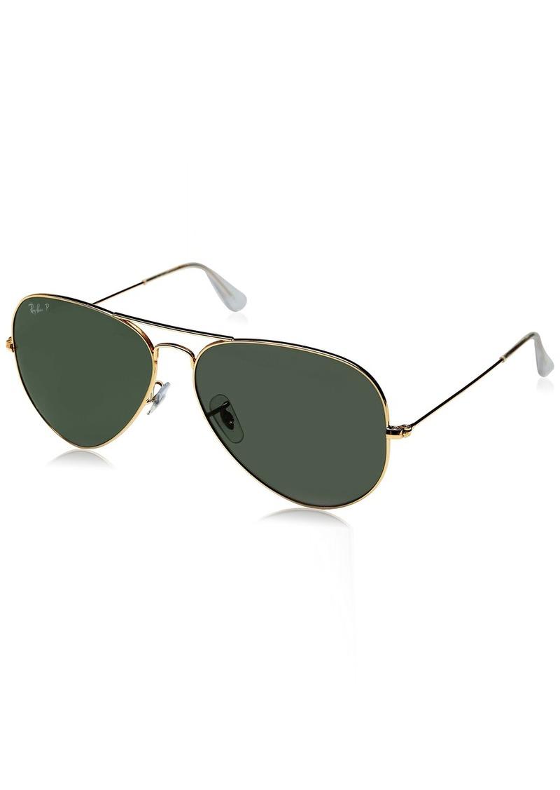 Ray-Ban 3025 Aviator Large Metal Non-Mirrored Polarized Sunglasses /Green 62mm
