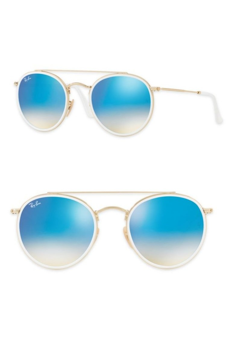 429e9d990be21 Ray-Ban 51mm Mirrored Round Double Bridge Sunglasses