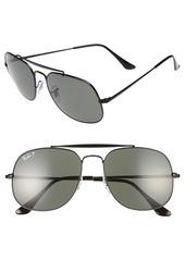 Ray-Ban 57mm Polarized Aviator Sunglasses