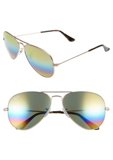 Ray-Ban 58mm Mirrored Rainbow Aviator Sunglasses