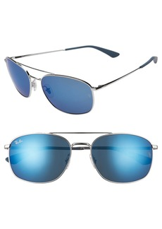 Ray-Ban 60mm Mirrored Aviator Sunglasses