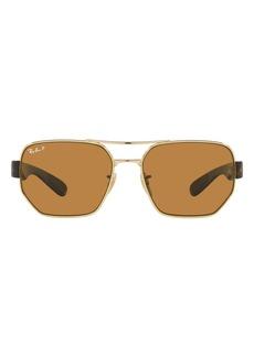 Ray-Ban 60mm Polarized Aviator Sunglasses