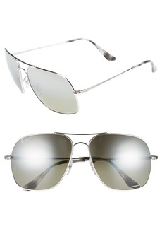 Ray-Ban 61mm Mirrored Lens Polarized Aviator Sunglasses