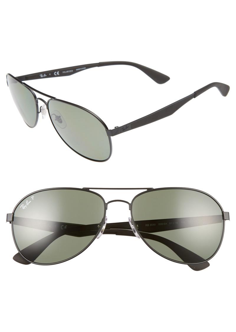 Ray-Ban 61mm Polarized Aviator Sunglasses
