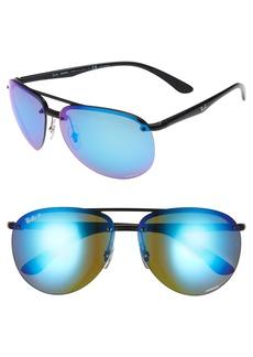 Ray-Ban 64mm Oversized Polarized Mirrored Rimless Aviator Sunglasses