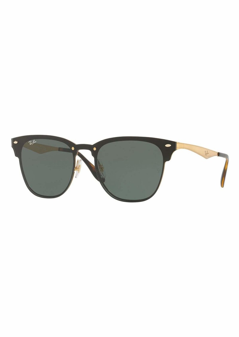 bf6323d5a3 Ray-Ban Blaze Clubmaster Lens-Over-Frame Sunglasses Black Gold ...