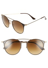 Ray-Ban Highstreet 52mm Round Brow Bar Sunglasses