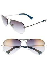Ray-Ban Highstreet 59mm Semi Rimless Aviator Sunglasses