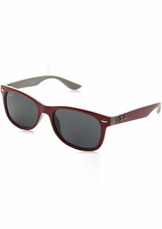 Ray-Ban Kids' New Wayfarer Junior Sunglass Square TOP RED FUXIA ON GRAY 177/87