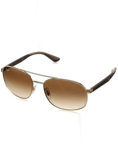 Ray-Ban Men's 0rb3593 Square Sunglasses GOLD