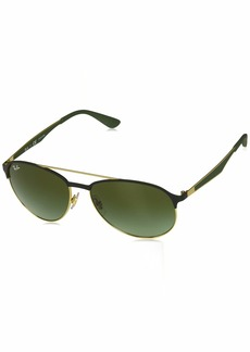 Ray-Ban Men's 0rb3606 Aviator Sunglasses GOLD ON TOP MATTE BLACK