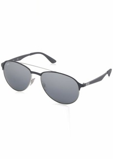 Ray-Ban Men's 0rb3606 Non-Polarized Iridium Aviator Sunglasses Silver ON TOP Matte Grey 47.0 mm