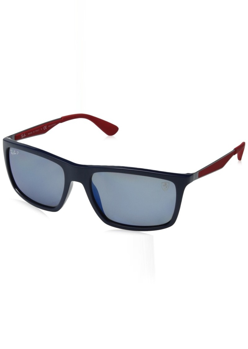 Ray-Ban Men's 0rb4228mf602h258plastic Man Polarized Iridium Rectangular Sunglasses Matte Black