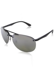 Ray-Ban Men's 0rb4293ch601s5j64plastic Man Sunglasses Polarized Iridium Aviator MATTE BLACK 65 mm