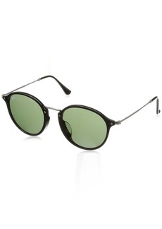 Ray-Ban Men's Acetate Man Sunglass Round BLACK 49.2 mm
