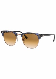 Ray-Ban Men's Clubmaster Square Sunglasses SPOTTED BROWN/BLUE 54.9 mm