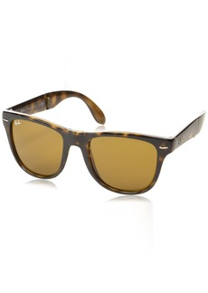 a77b16e6c16 Ray-Ban Men s Folding Wayfarer Non-Polarized Square Sunglasses LIGHT HAVANA