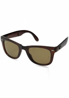Ray-Ban Men's Folding Wayfarer Non-Polarized Square Sunglasses LIGHT HAVANA