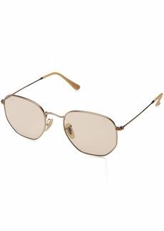 Ray-Ban Men's Hexagonal Polarized Cateye Sunglasses  49.8 mm